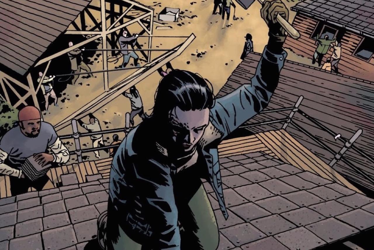 ウォーキングデッド コミック 172話 表紙 ヒルトップ再建現場で働くカール