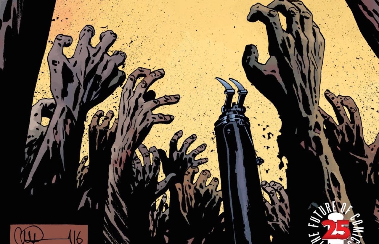 ウォーキングデッド コミック 163話 表紙:多数のウォーカーズの中にリックの義手