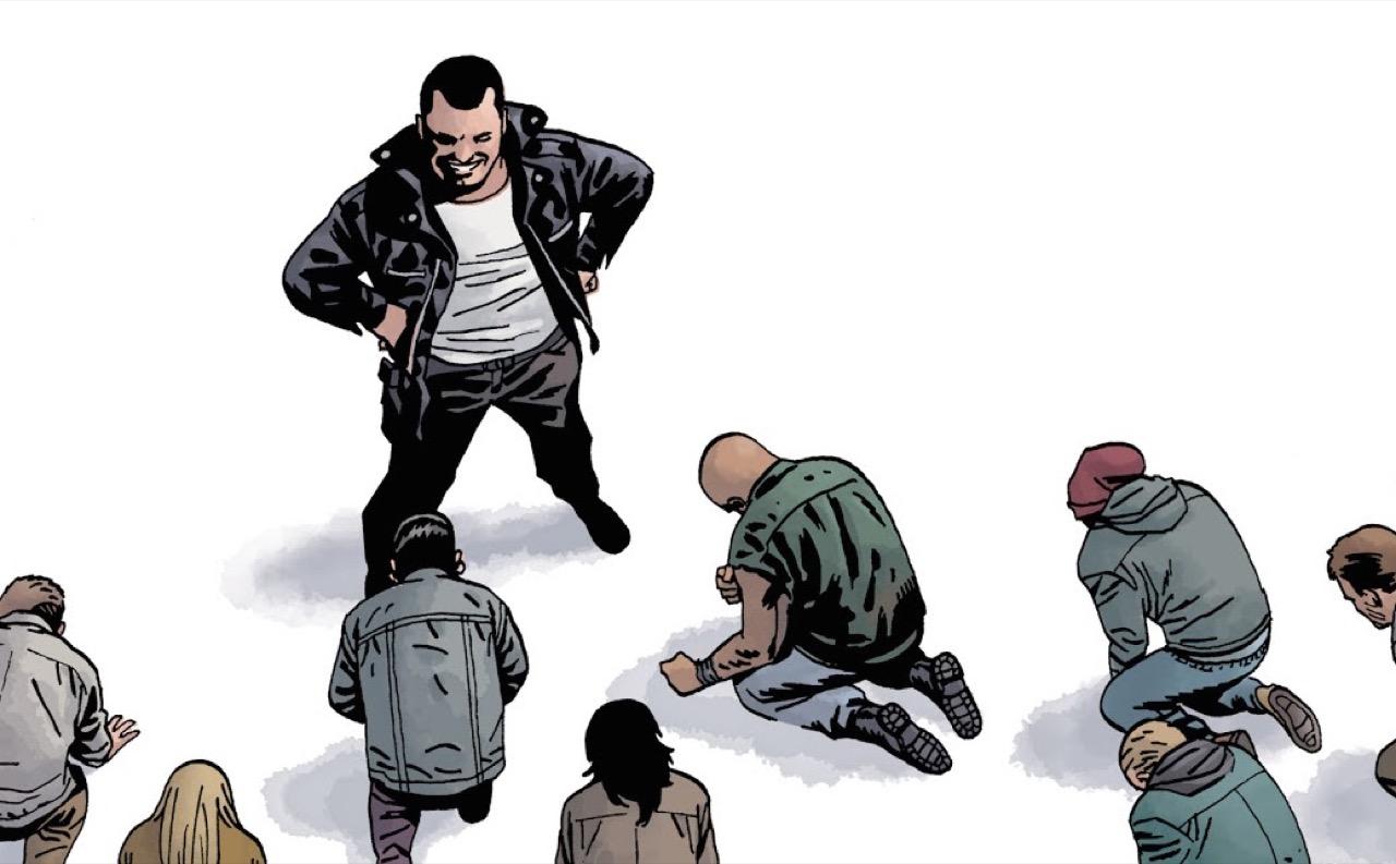 ウォーキングデッド コミック 168話 表紙のニーガンを前にひざまずくセイバーズ達